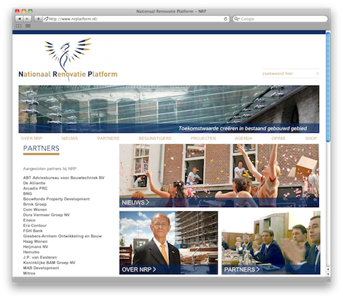 Homepage Nationaal Renovatie Platform website
